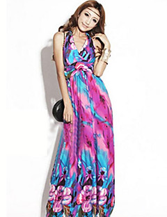 zh ongedwongen groot formaat bohemen band lange jurk (fuchsia)