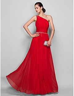 Homecoming Formal Evening/Prom/Military Ball Dress - Ruby Plus Sizes Sheath/Column One Shoulder Floor-length Chiffon
