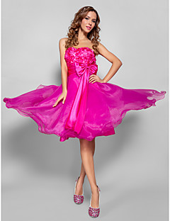 TS Couture Cocktail Party Prom Sweet 16 Dress - Open Back A-line Princess Strapless Sweetheart Knee-length Organza Stretch Satin with