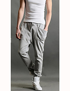Men's Solid Casual Sweatpants,Cotton Blend Black / Blue / Brown / Red / Gray