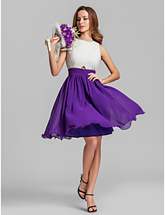 Homecoming Bridesmaid Dress Knee Length Georgette A Line Jewel Dress (808914)