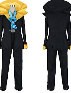 Inspirerad av One Piece Brook Animé Cosplay Kostymer/Dräkter cosplay Suits Färgblock Svart Kappa / Byxor / Knyta