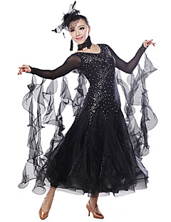 Ballroom Dance Tops / Dresses Women's Training Spandex / Sequined / Tulle Crystals/Rhinestones / Sequins Black / Red / Royal BlueModern