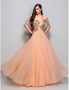 Formal Evening/Prom/Military Ball Dress - Orange A-line/Princess Strapless/Sweetheart Floor-length Chiffon