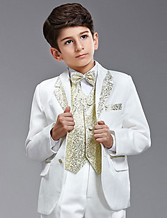 Seven Pieces hvid og guld Ring Bearer Suit Tuxedo med to Bow Ties