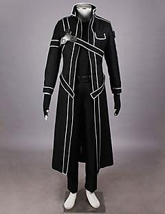 Inspireret af Sword Art Online Kirito Anime Cosplay Kostumer Cosplay Suits Ensfarvet Sort Jakke / Trøye / Bukser / Handsker