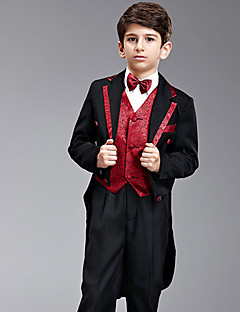 Seven Pieces Sort og rød Swallow-tail Ring Bearer Suit Med To Bow Ties