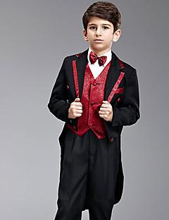 שבע חתיכות שחורות וחליפת נושא הטבעת אדומה זנב סנונית עם עניבות פרפר שני