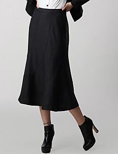 LIFVER женщин в корейской Кашемир Solid Color Повседневная Встроенная юбка