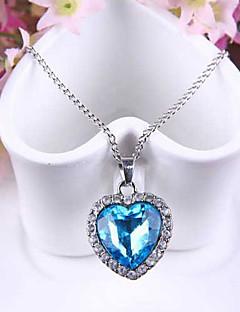 Femme Pendentif de collier Saphir Forme de Coeur Cristal Autrichien Alliage Amour Mode bijoux de fantaisie Bijoux Pour Mariage Soirée