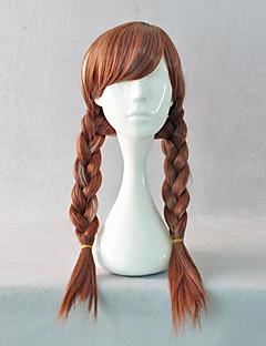 Snow Princess Super Power Anna Brown Braid Pigtails Halloween Cosplay Wig