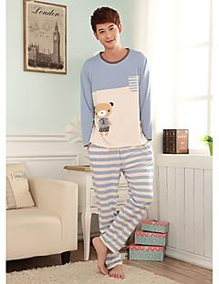För män Bear Print Stripes tecknad Lounge Wear