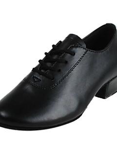 Chaussures de danse (Noir) - Non personnalisable - Gros talon - Cuir - Moderne