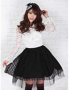 Black Lace Pretty Lolita  Princess Kawaii Muslin Skirt Lovely
