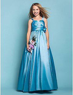A-Linie Princess Na zem Taft Šaty pro malou družičku s Květina(y) Šerpa / Stuha Křížení podle LAN TING BRIDE®