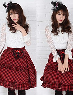 Skole Angelic Sexy Plaid Goth Punk Lolita Red and Black Club Skjørt