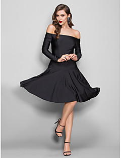 Homecoming Dress - Black Plus Sizes Sheath/Column Off-the-shoulder Knee-length Jersey