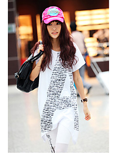 YinShang Women's Round Neck A Pattern Loose Fit Long T-Shirt
