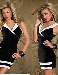Hot Four Colors Polyester Sexy Nightclub with Collar Women Mini Dresses
