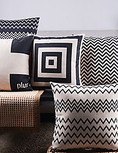 Set of 5 Black And White Regular Arrow Mixed Decorative Pillow Covers