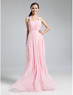 Floor-length Chiffon Bridesmaid Dress - Blushing Pink Plus Sizes / Petite Sheath/Column Halter