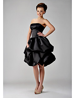 Lanting Bride Knee-length Satin Bridesmaid Dress - Little Black Dress Ball Gown Strapless Plus Size / Petite withBow(s) / Pick Up Skirt /
