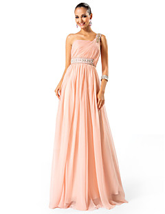 Formal Evening / Prom / Military Ball Dress - Pearl Pink Plus Sizes / Petite A-line / Princess One Shoulder Floor-length Chiffon