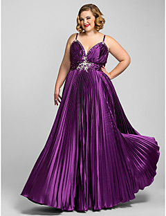 Formal Evening/Prom/Military Ball Dress - Grape Plus Sizes A-line Spaghetti Straps Floor-length Charmeuse