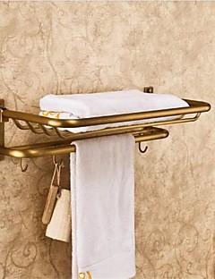 Prateleiras do banheiro Bronze antigo Finish Latão Material de parede montada com Ganchos