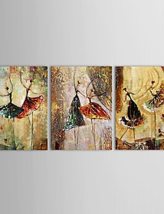 Hand Painted Oil Painting People Dancing Girls with Stretched Frame Set of 3