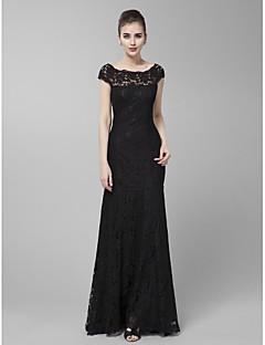 Homecoming Formal Evening/Prom/Military Ball Dress - Black Sheath/Column Jewel Sweep/Brush Train Lace
