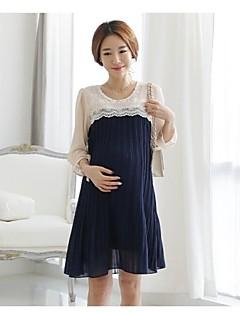 3Colors Calidad Mujeres Embarazadas Elegent del cordón de la gasa del vestido del estilo de Corea de maternidad largo vestido plisado