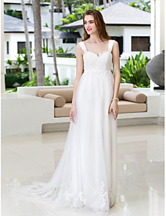 Lanting A-line Plus Sizes Wedding Dress - Ivory Court Train Straps Chiffon/Tulle