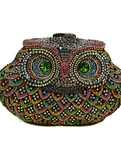 Women's Big Owl Shape Crystal and Rhinestones Evening Bag Day Clutch