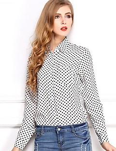 Women's Casual/Daily Simple Spring / Summer / Fall Shirt,Polka Dot Shirt Collar Long Sleeve White / Black Thin