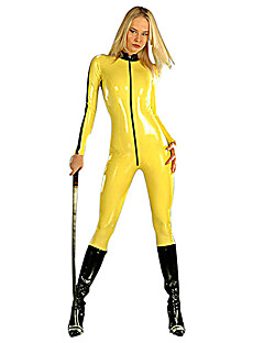 Japanese Samurai Yellow PU Leather Women's Halloween Costume