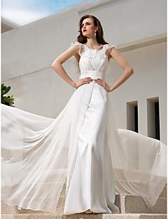 A-line Plus Sizes Wedding Dress - Ivory Sweep/Brush Train Spaghetti Straps Chiffon