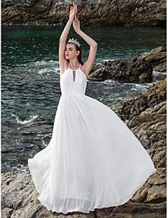 LAN TING BRIDE Sheath / Column Wedding Dress - Chic & Modern Elegant & Luxurious Open Back Floor-length Halter Chiffon with Draped
