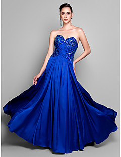 Formal Evening Dress - Royal Blue Plus Sizes / Petite Sheath/Column Sweetheart Sweep/Brush Train Satin Chiffon