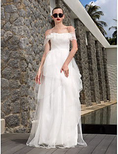 Lan Ting Sheath/Column Plus Sizes Wedding Dress - Ivory Floor-length Off-the-shoulder Tulle