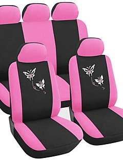 9 PCS Set Car Seat Covers Universal Fit  Butterfly Embroidery Design For Pink  Car Accessories