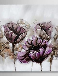 pintura al óleo pintada a mano floral flor púrpura con el marco estirado