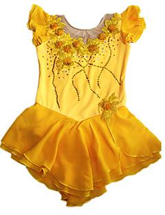 Flicka Gul Spandex Ärmlös konståkning klänning (Assorted storlek)