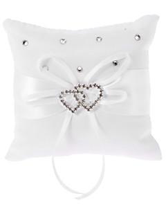 klar hvit Ring pute  hvit sløyfe Satin med hjerte formet rhinstein