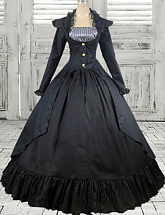 Old European Style Long Sleeve Floor-length Black Cotton Classic Lolita Dress