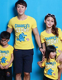 Family's Sweet Round Collar Carton Print T-shirt