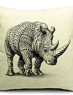 grå noshörning bomull / linne dekorativa örngott