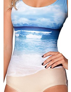 Beach Waves  One Piece Spandex Swim Suit