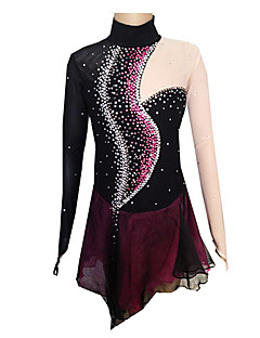 Girl's Black and Purple Spandex Figure Skating Dress(Assorted Size)