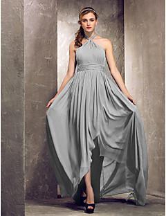 Lanting Bride® א-סימטרי שיפון שמלה לשושבינה - מעטפת \ עמוד קולר פלאס סייז (מידה גדולה) / פטיט עם בד נשפך בצד / סלסולים